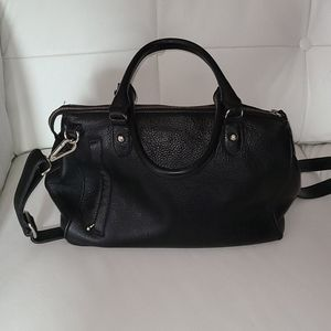 Roots black leather bag
